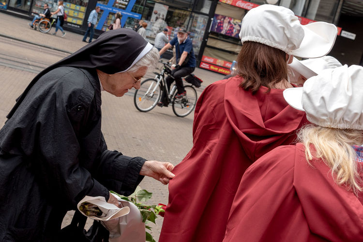 Handmaid's Tale Human Rights Protest Belief City Hood - Clothing Nun Real People Religion Street Woman Rights Women The Street Photographer - 2018 EyeEm Awards
