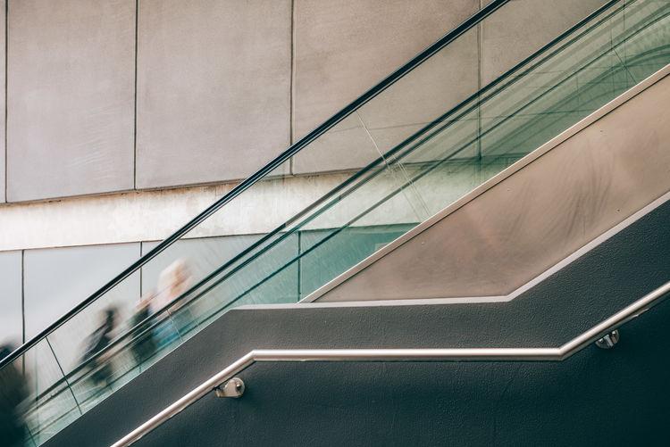 Escalator against wall