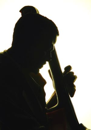 Shillouette of jazz bass player Artistic Bass Player Black Man Classy Close Up Club Cool Cropped Expressive Fnger Image Of Jazz Light Music Photo Of Picture Of Play Radiant Rhythm Shades Shillouette Smooth Soft Statuette View
