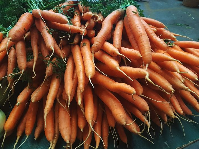 Close-up of carrots at market stall