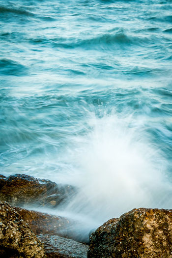 Wave on the rock. Beautiful seascape. Gran View Island, Fox Hill, Hampton, Virginia Long Exposure Shot Beauty In Nature Day Long Exposure Motion Nature No People Outdoors Power In Nature Rock - Object Sea Water Wave White Waves