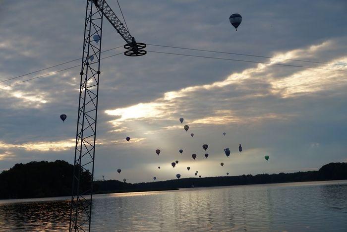 Festiwal Balony Jezioro Park Polska Zachód Słońca Szczecinek