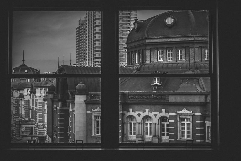 EyeEm EyeEm Selects Monochrome Tokyo Station Blackandwhite Window Window View Window Frame Black&white Photography 東京 Japan Japan Photography Olympus Olympus Om-d E-m10 M.zuiko City Architecture Building Exterior Built Structure Looking Through Window