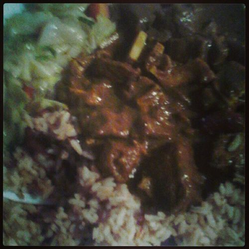 Dinner 1/07/2013 #dinner #currygoat #rice #food #ohyes Dinner Food Rice Ohyes Currygoat