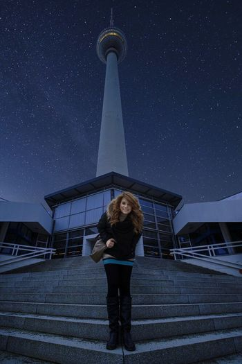 Capture Berlin Alexanderplatz Night Star - Space Sky One Person Full Length Portrait Environmental Conservation Astronomy Communication Arts Culture And Entertainment Young Adult People Smiling Place Of Worship Discovery Technology Space Nature Adult Outdoors
