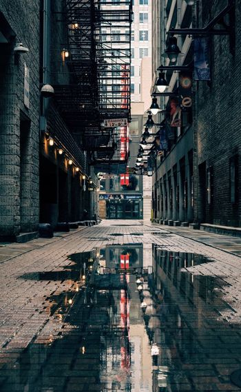 The grimy side Architecture Built Structure Building Exterior The Way Forward City Outdoors No People Puddle Day Water Alley