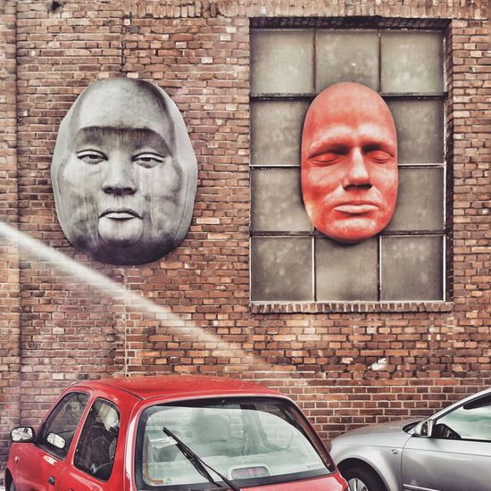 Industrial Landscapes Red Grey Wall - Building Feature Cars Portrait Looking At Camera Buddha