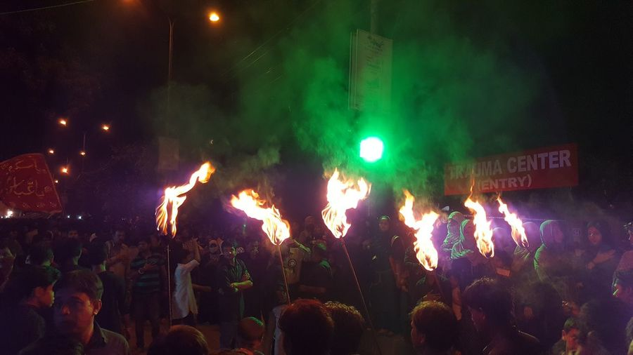 Night Large Group Of People Crowd Procession Torches Flames & Fire Mourning Lucknowdiaries Lucknow Azaadari Ya Hussain