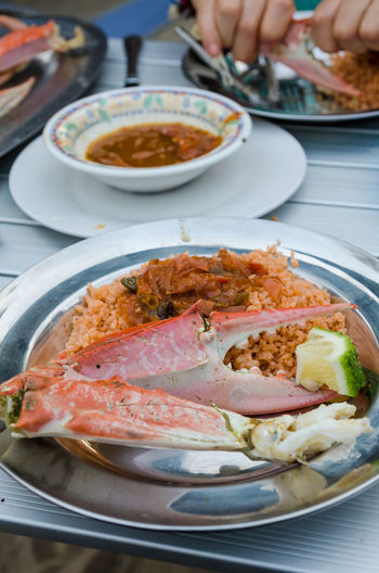 Close-Up Of Grilled Crab In Bowl