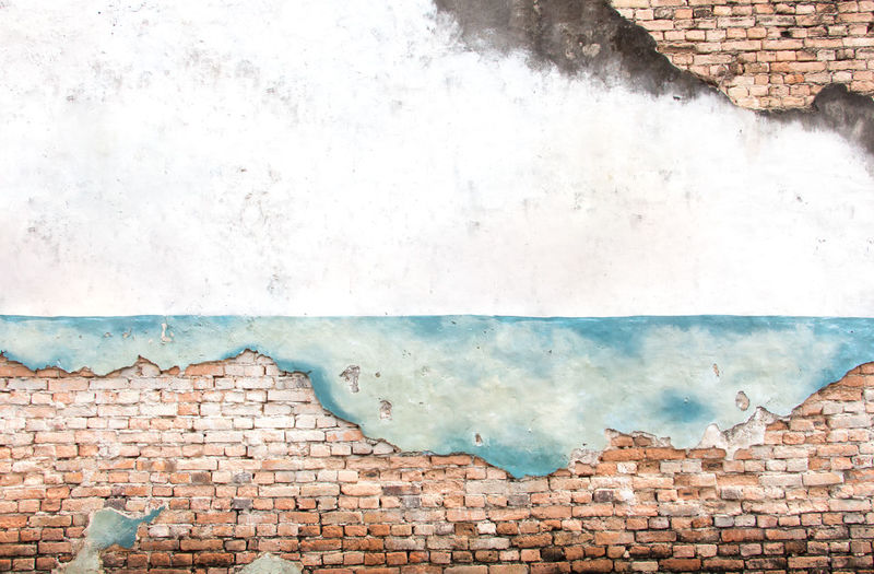 View of weathered wall of old building