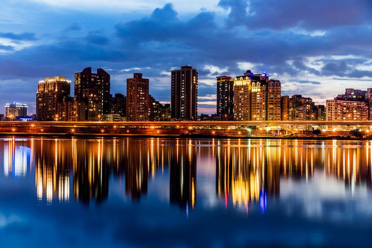 Cityscape River Sunset Taipei Dadaocheng Wharf Water Reflections