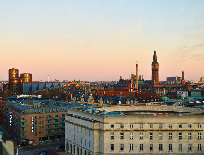 g r a d i e n t Outdoors Nature Sunset Sunset_collection Travel Travel Destinations Copenhagen City Cityscape City Life Colors Colorful Sky Sunrise Architecture Architecture_collection View View From Above Viewpoint Built Structure Building Exterior Man Made Man Made Structure Building Tower No People Residential District Tall - High Tourism High Angle View Religion Office Building Exterior Spire  Skyscraper The Architect - 2019 EyeEm Awards