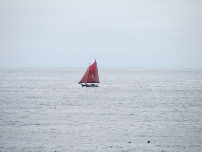 Sea Sailing Sailboat Outdoors Horizon Over Water Day Red No People Nature Sky