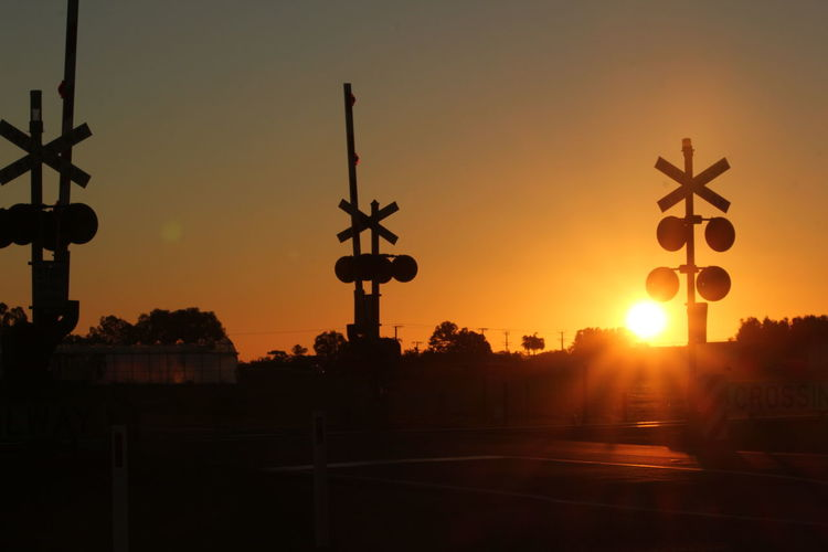 Virginia, South Australia Train Signal Crossing Sunset_collection Sunset Silhouettes Golden Hour
