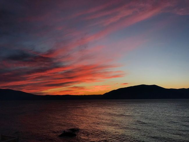 Albania #Radhime Radhime Sunset Scenics Beauty In Nature Nature Tranquility Tranquil Scene Mountain Sea Sky Outdoors No People Day Water