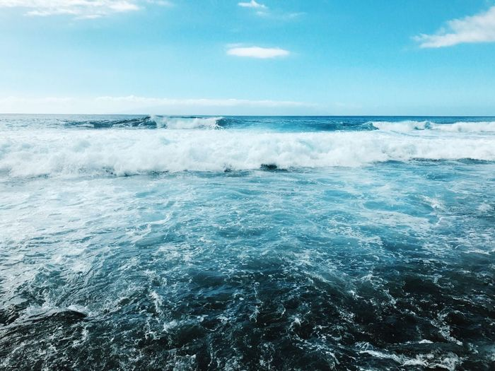Sea Water Scenics - Nature Beauty In Nature Horizon Over Water Horizon Sky Wave Aquatic Sport Surfing Day Sport Motion Cloud - Sky Nature Waterfront Idyllic Blue Outdoors Power In Nature