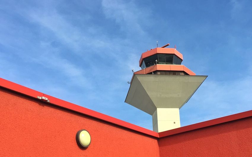 Low angle view of air traffic control tower