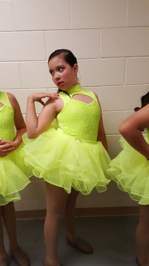 Childhood Day Standing Indoors  DanceRecital Green Color Flourescente Jazz Dancer