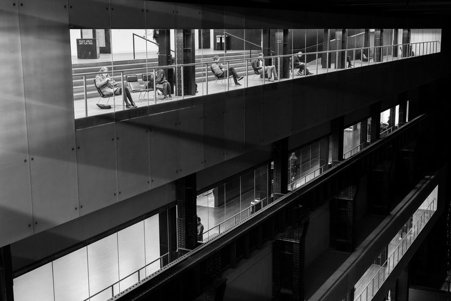 Exhibition pieces Architecture Black & White Blackandwhite Built Structure EyeEm Gallery Group Of People Indoors  Lines Monochrome People Real People Window