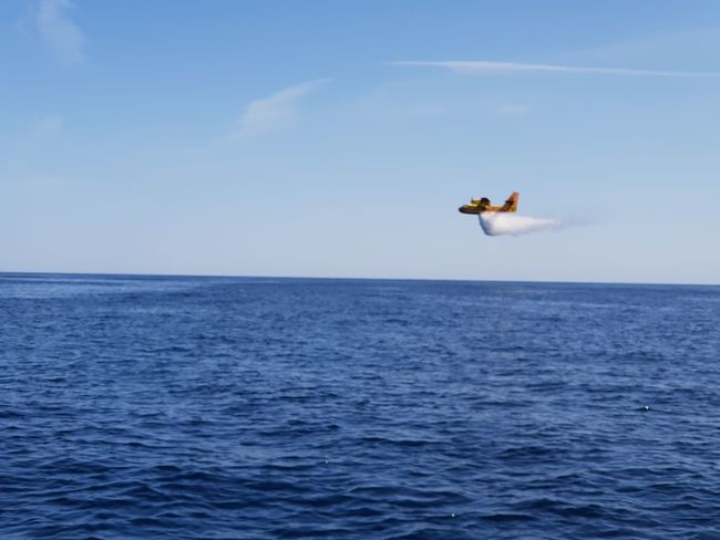 fire plane corsica Fire Plane Fire Corsica Rescue Water Flying Sea Humpback Whale Stunt Mid-air Blue Aerobatics Sky Horizon Over Water