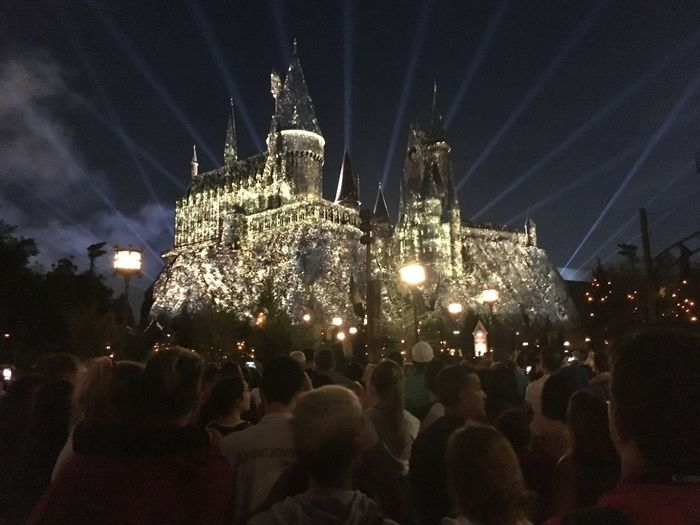 Castle Harry Potter Hogwarts Hogwarts Castle Architecture Arts Culture And Entertainment Building Exterior Built Structure Crowd Illuminated Island Of Adventure Night