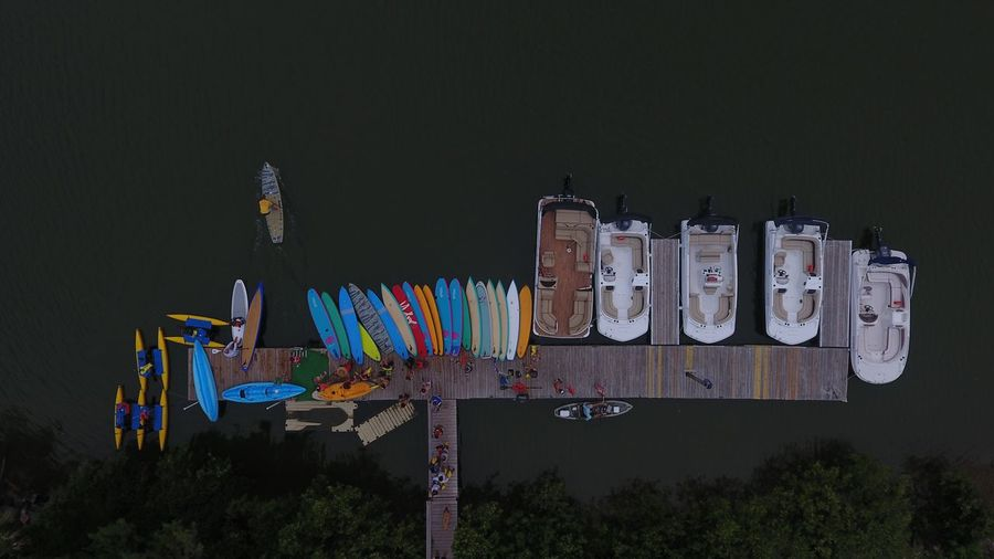 High Angle View Of Boats Moored At Dock