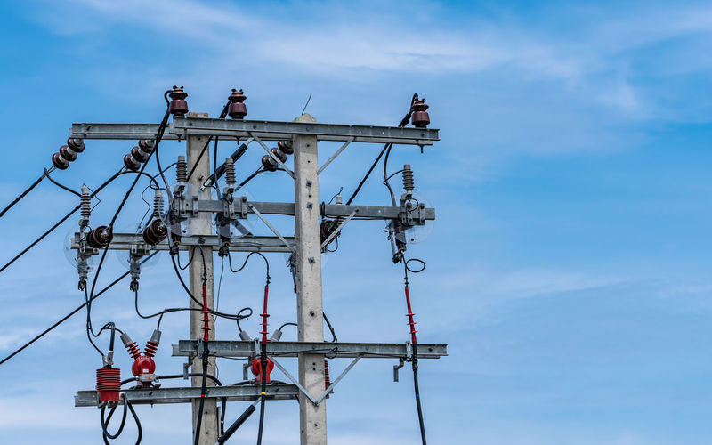 Three-phase electric power for transfer power by electrical grids. high voltage electric poles.