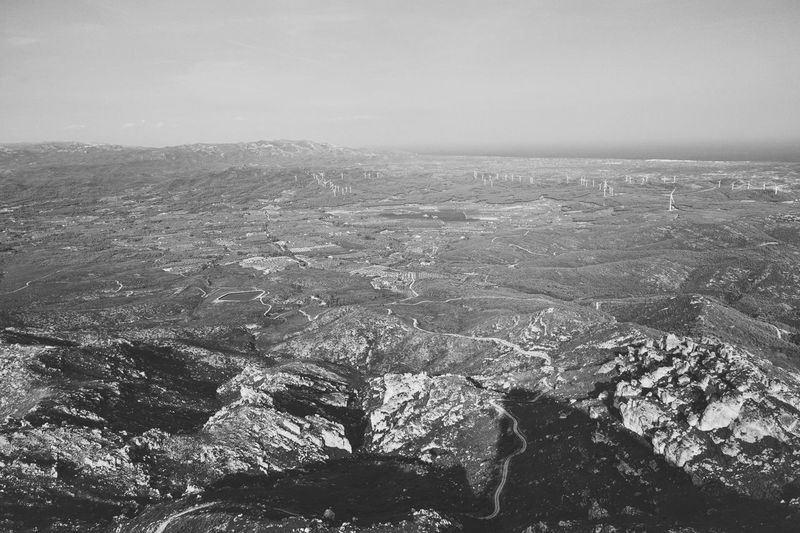 From the top From The Top Looking From Above Top Mountain First Eyeem Photo Eye4photography  Nature Nature_collection Landscape Blackandwhite Black And White Catalunya Catalonia Is Not Spain Catalonia Aerial View Landscape Patchwork Landscape Oilseed Rape Foggy