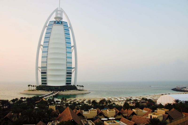 Amazing Architecture Amazing View Architecture Beach Building Exterior Bulding Burj Burj Al Arab Burjalarab Burjalarabhotel Business Finance And Industry City Cityscape Clear Sky Day Nature Outdoors People Sea Sky Sunset Tower Tranquility Yachting
