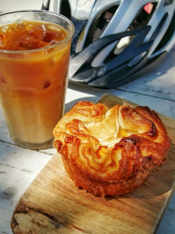 An organic peach kouign amann is just the snack after a bike ride! With iced coffee. Hanging Out Food Porn Pastry Pastry & Coffee Yum Yummy Food Food Photography Delicious Buttery Butterydelight Panasonic Lumix Dmc-gx85