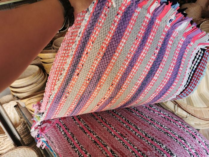 High angle view of fabrics for sale