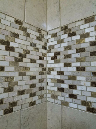 Full Frame No People Indoors  Close-up Texture Rectangles Marble Shower Bathroom Tiles Grout Interior Style Interior Design Design Decoration Built Structure Architecture Grouted Tiled Wall Wall Pattern Backgrounds Corner Repetition