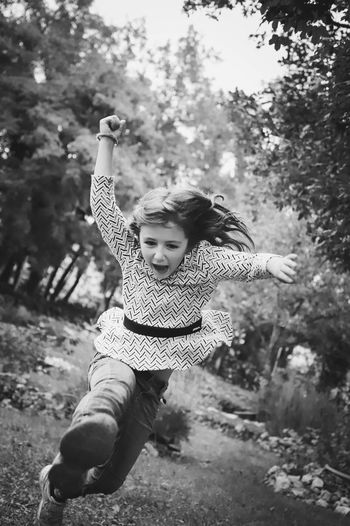 Cute girl running on land
