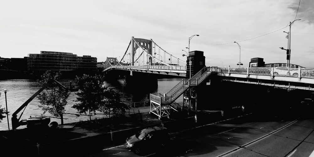 Bridge - Man Made Structure Architecture Built Structure City Business Finance And Industry Cloud - Sky Outdoors Water Travel Destinations Building Exterior Cityscape Sky Day No People Urban Skyline Monochrome Photography Bnw_collection Bnw_lover Black&white Lgg6 Wide Angle EyeEm Best Shots - Black + White Downtown Pittsburgh Pittsburgh Downtown District