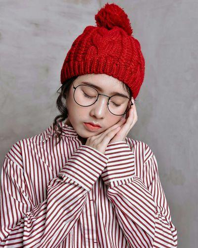 alone Warm Clothing Clown Beautiful Woman Portrait Young Women Winter Beauty Human Face Headshot Red Knit Hat