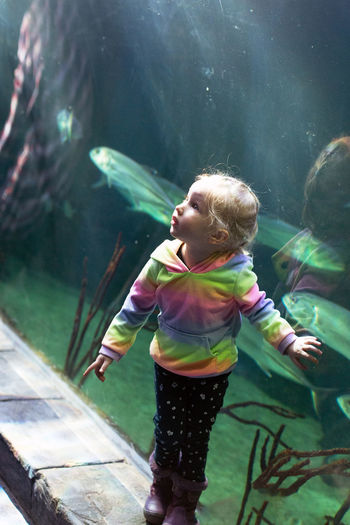 Full length of cute girl in water