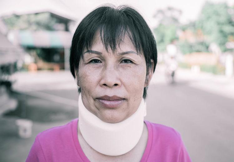 Unhappy Sick Healthy Lifestyle Healthy Portrait Woman Pain Neck Pain White