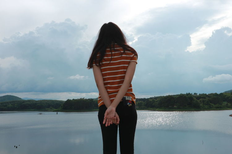 Rear view of girl looking at view