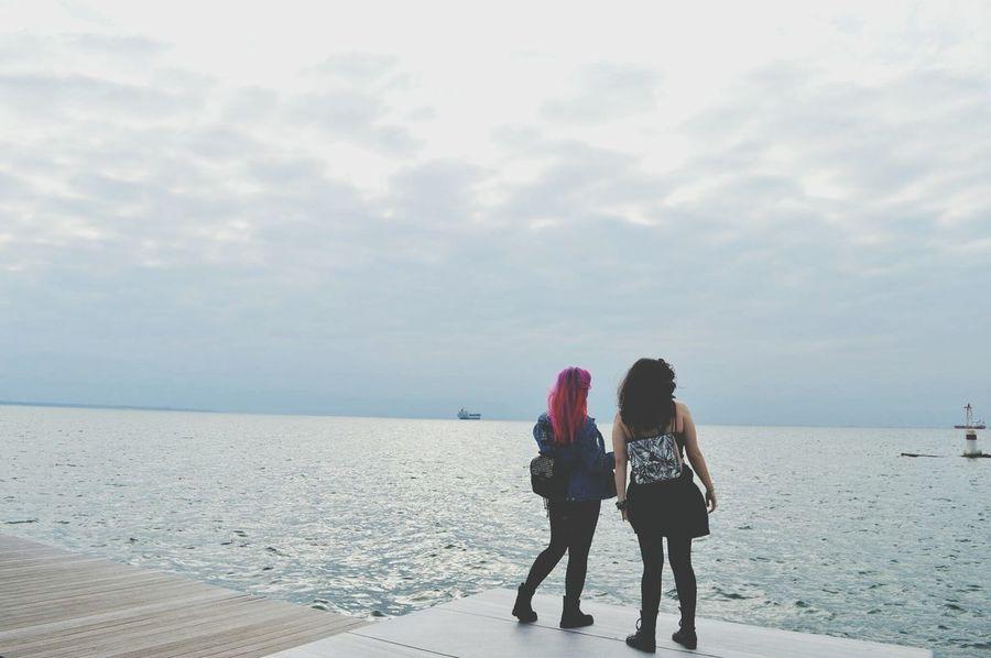 Thessaloniki Streetphotography Pinkhair Port Sea Afternoon Sky Day Walk People