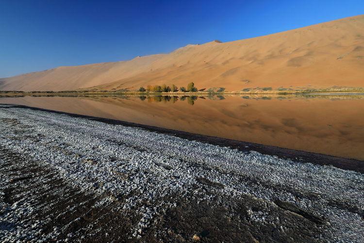 1200 sumu jaran lake's western megadune reflected on mirroring water. badain jaran desert-china.