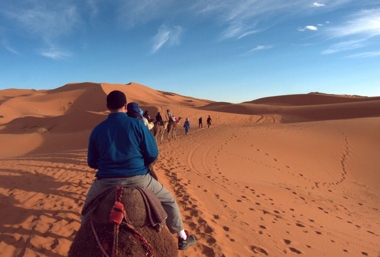 Rear view of people riding camels at desert against sky