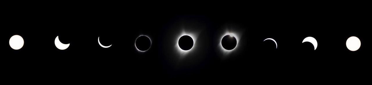 Black Background Black Color Total Solar Eclipse Eclipse 2017 Composite Image Backgrounds No People Night Close-up Skyastronomy] Sun Moon Solar Flare Diamond Ring