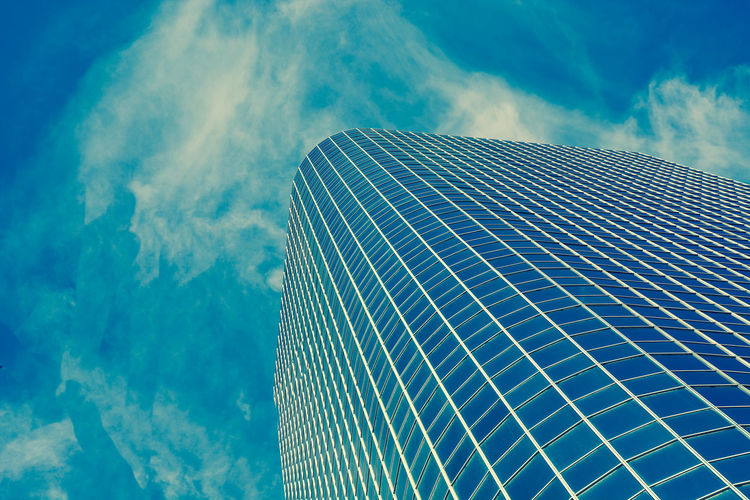 Architecture Architecture Blue Building Building Exterior Built Structure City Cloud - Sky Day Directly Below Financial District  Low Angle View Modern Nature No People Office Office Building Exterior Outdoors Pattern Pollution Reflection Sky Skyscraper Tall - High