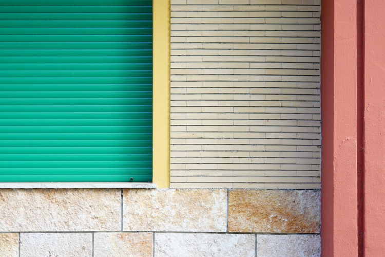 Abandoned Hotel Building Exterior Different Textures Green Window Shutter Lines And Rectangles Multi Coloured Building Exterior No People No Photoshop, No Filter Sony A6000 Stone And Plastic Various Patterns