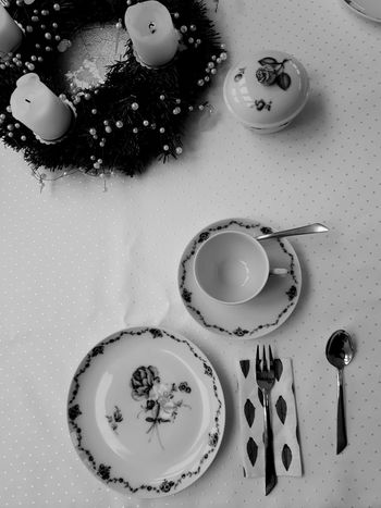 Adventskranz Advent Plate Cup Ceramics Blackandwhite Table High Angle View Served Prepared Food Tea Cup Pottery