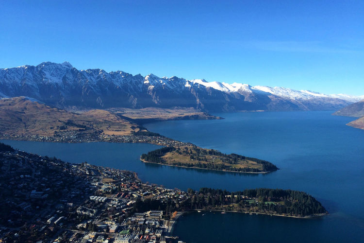 Aerial View Of Lake Wakatipu By Mountains Against Sky
