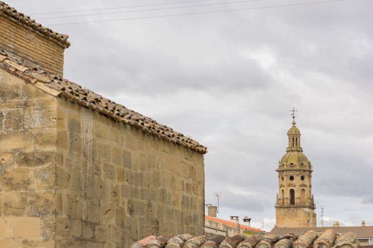 Puente La Reina Architecture Bell Tower Building Exterior Built Structure Camino De Santiago Cloud - Sky Day History Low Angle View Navarra No People Outdoors Place Of Worship Religion Road To Santiago Sky Spirituality Travel Destinations