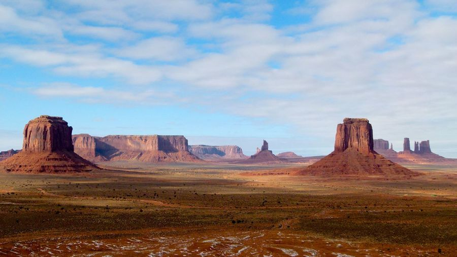 Scenic view of monument valley against cloudy sky