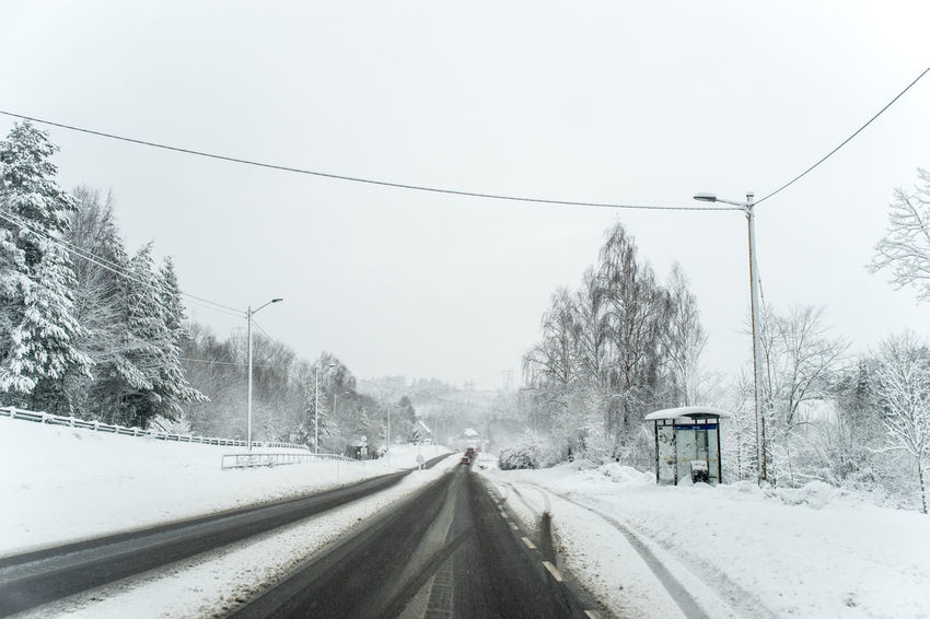 winter comeback Norway Cable Cold Temperature Day Electricity Pylon Land Vehicle Mode Of Transport No People Outdoors Power Line  Road Snow Snowing Telemark The Way Forward Transportation Tree Weather Windshield Winter Shades Of Winter
