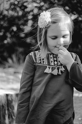 Childhood One Girl Only Girls One Person Children Only Exceptional Photographs Child Standing Outdoors Portrait Real People Day People Relaxing Portraits Kids Children Photography Children Blackandwhite Black And White Monochrome Monochrome Photography BYOPaper!